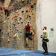Students rock climbing at Stout Adventures