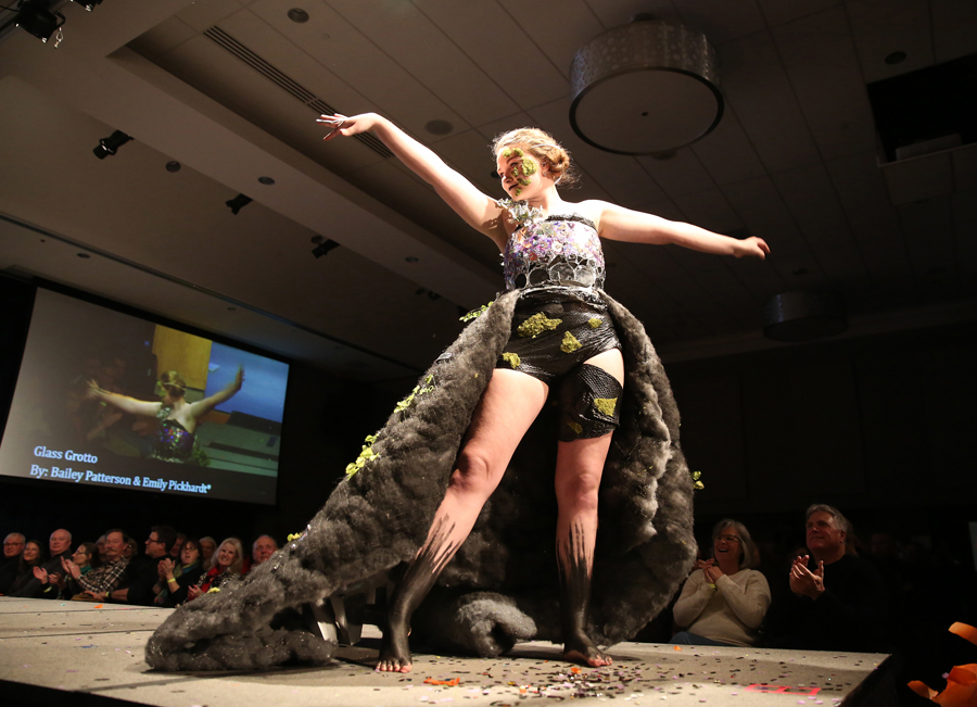 "Emily Pickhardt models ""Glass Grotto,"" during Fashion Without Fabric."