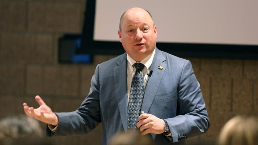 Alumnus Todd Wanek, president and CEO of Ashley Furniture Industries Inc., delivers his Cabot Executive in Residence presentation Thursday, Oct. 26, in UW-Stout's Memorial Student Center.