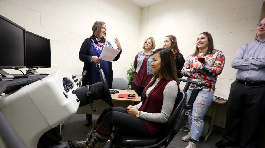 Rehabilitation counseling graduate students learn about assistive technology and independent living during a visit to the Stout Vocational Rehabilitation Institute.