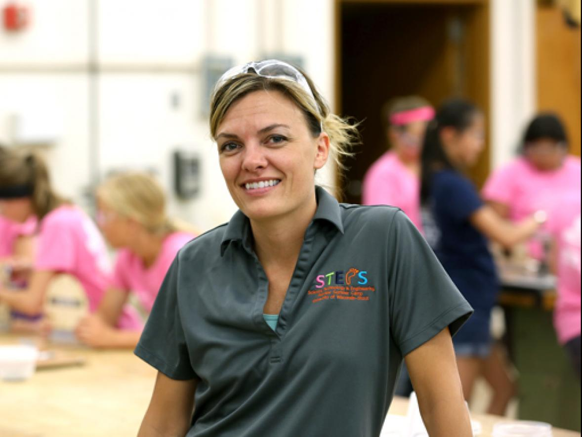 ari Berthiaume, a 2002 alumna and engineering manager with Andersen Corporation, was one of 23 female engineers who worked as instructors at the annual STEPS for Girls program at UW-Stout.